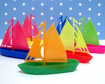 6 Colorful Sailboat Cupcake Toppers