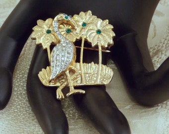 Vintage Rhinestone Flamingo with Palm Trees by Gem-Craft -Sale