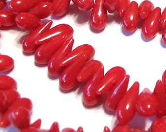 Red coral tear drop beads whole strand