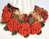 MOSS  and ROSE - Red - Hand Knitted and Crochet Flower Circle Scarf/Lariat