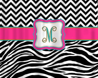 Custom Personalized Chevron and Zebra Shower Curtain - your colors - shown with Hot Pink-Turquoise-Orange Accents