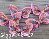 New to Shop 2 inch SEQUIN BUTTERFLY Appliques-Set of 5 Pink Rainbow