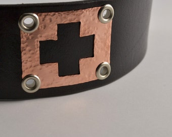 Greater Love Bracelet in Leather and Copper