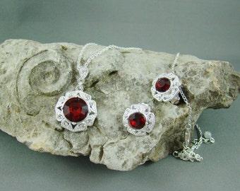 NRT Ruby Necklace Earrings Set - Large Red Stones - Signed Elegance