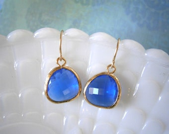 Clearance Sale, Cobalt Blue Earrings, Gold Earrings, Wife Gift, Mom Mother Gift, Gold Earrings