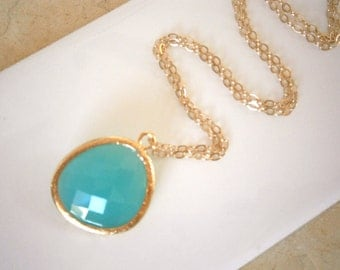 Mint Aqua Necklace, Long Pendant Necklace, Gold Necklace, Layering Necklace, Best Friend Gift, Boho Style, Wife Gift