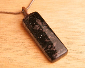 Handmade Dichroic Copper Fused Glass Pendant Necklace ...with chain...