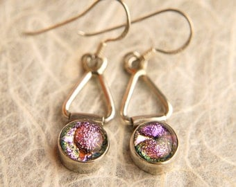 CoLoR ChAnGiNg Handmade Dichroic Glass Earrings Sterling Silver .925
