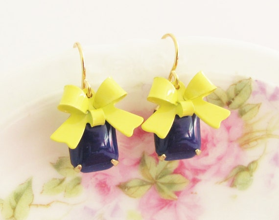 Yellow Bow and Navy Blue Vintage Glass Jewel and Yellow Enamel Bow Dangle Earrings - Preppy, Wedding, Bridal, Bridesmaid