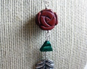 SALE: Long Boho Necklace, Long Necklace, Statement Necklace, Stone Necklace,  Thai Hill Tribe, Silver Leaf
