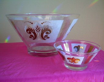mid century chip and dip,  Serving Bowl,  gold fleur de lis,1950s, set