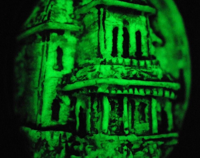 Halloween Cameo Jewelry -Glow in the Dark  Necklace - Psycho House Necklace  - Haunted  House -Bates Mansion
