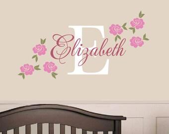 Rose Name Decal - Custom Vinyl Decal - Girl Nursery Children