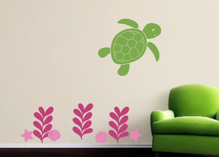 ocean wall decals nursery decals sea turtle wall decal sea. Black Bedroom Furniture Sets. Home Design Ideas