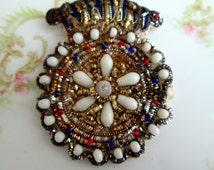 Antique Crown Medallion Brooch Glass beads rhinestones Fabric Brooch