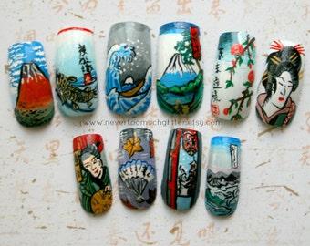 Handpainted Nail Art- Japanese Ukiyoe Woodblock Print (Custom) Artificial Nails, Handpainted Fake Nails, Custom Nail Art, Designer Nail Art