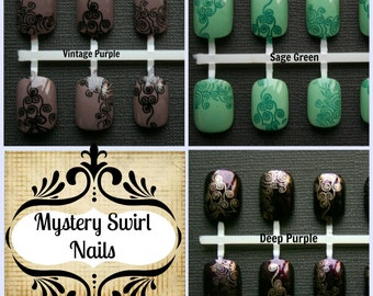 Mystery Swirl. Choose Your Favorite Color, Fake Nails, False Nails, Press On Nails, Short Fake Nails, False Nails Set, Japanese Nail Art