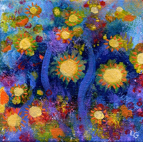 ON SALE - Original Colorful Expressionist Painting on Canvas - Garden Blue