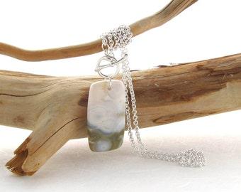 Argentium Necklace with Ocean Jasper Cabochon