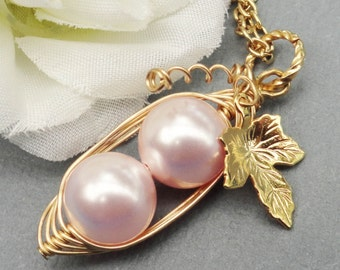 Two Peas In A Pod Gold Pendant Necklace - Love My Girls Pink Swarovski Pearls. Ideal For Brides, Bridesmaids, Sisters, Family,  Mom