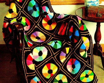 INSTANT DOWNLOAD PDF Vintage Crochet Pattern  for Colour Color Wheel Afghan Throw Blanket Retro