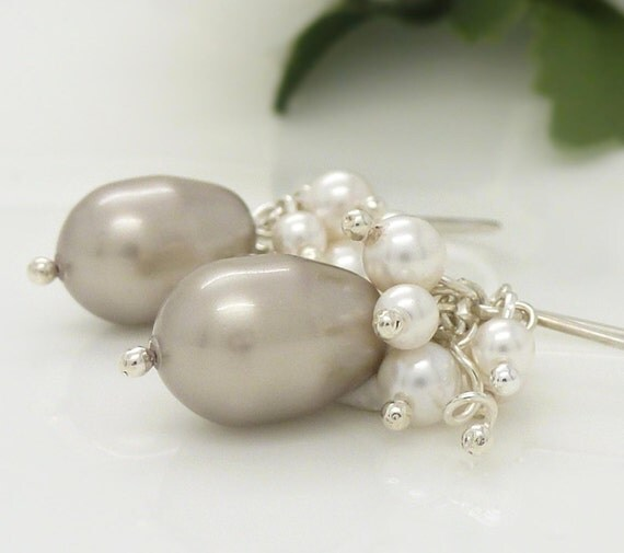 White and silver pearl earrings, gray pearl cluster earrings, New Zealand wedding jewelry