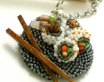 Spider Roll - Beaded Sushi Pendant