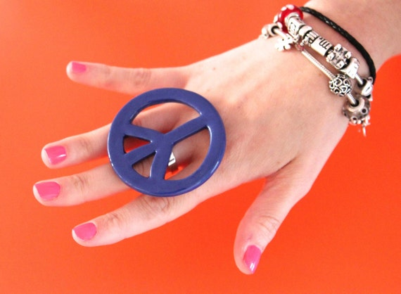 Peace Statement Ring  Ceramic -  big bold oversized handmade cocktail ring -  PEACE - 2.5 inch
