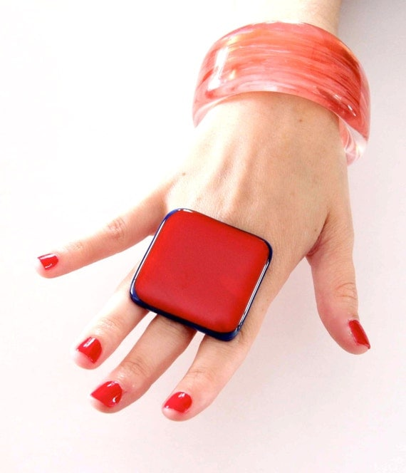 Red Fashion Ring Glass - oversize bold handmade cocktail ring - ROCKET RED - 1.8 inch