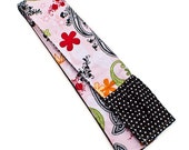 Fabric Camera Strap Cover Padded with Lens Cap Pocket Option -- Pink and Black Paisley -- Ready To Ship