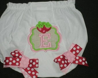 Personalized Strawberry Monogram Baby Bloomers Diaper Cover