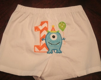 Boys Birthday Monster PERSONALIZED Boxers Diaper Cover Infant Toddler Monogrammed