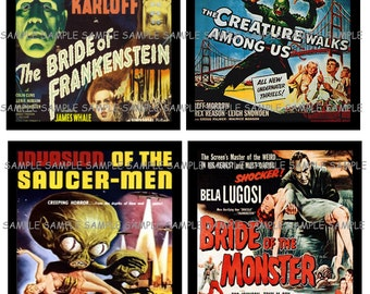 INSTANT DOWNLOAD...Retro Horror.... 4 Inch Square Image Collage for Coasters...Buy 3 get 1