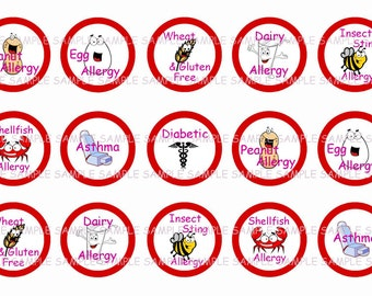 INSTANT DOWNLOAD...Allergy Alert Guys.... 1 Inch Circle Image Collage for Bottle Caps...Buy 3 get 1