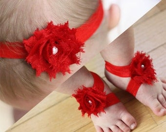 BOGO Red Baby Barefoot Sandals and Headband Sale