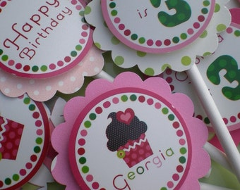 Mod Cupcake Birthday Party Cupcake Toppers Fully Assembled Decorations Pink Green