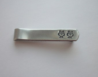 Owl Couple Aluminum Tie Bar / Tie Clip - Wedding Party - Groomsman Gift - Valentine's Gift - Personalized