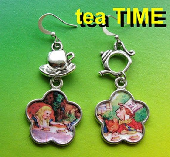 ALICE in Wonderland earrings TEA Time altered art Fantasy tale collectible aymmetrical birthday gift idea