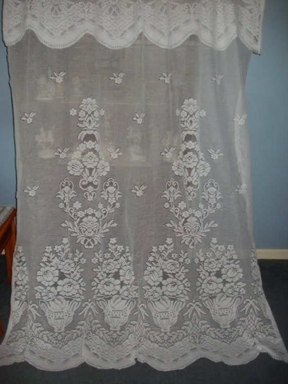 Vintage White Floral Lace Net Curtains Attached By Fabulous5