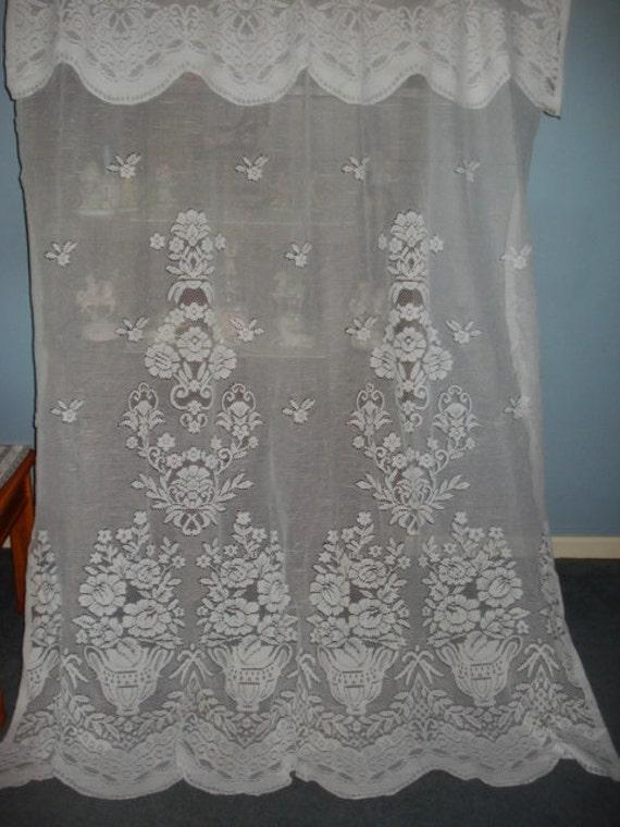 Vintage White Floral Lace Net Curtains Attached Scallop