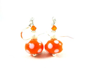 Polka Dot Earrings, Orange & White Earrings, Beadwork Earrings, Lampwork Earrings, Glass Earrings, Pearl Dangle Earrings - Orange Cream