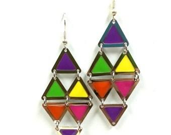 Multi-color dangle earrings / OOAK / funky/ love/diamond/triangle earrings