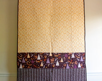outfoxed baby quilt // brown yellow purple whimsical foxes // baby girl or baby boy quilt in modern geometrics // READY TO SHIP