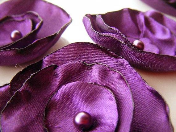 Purple wedding table decoration flowers, silk fabric flowers x 10 PLUM