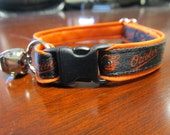 Baltimore Orioles Cat  or Small Dog Collar with Option of Orange or Pink Backing