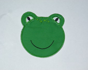 """Embroidered Iron On Applique-  """"Freddy Frog Face"""""""
