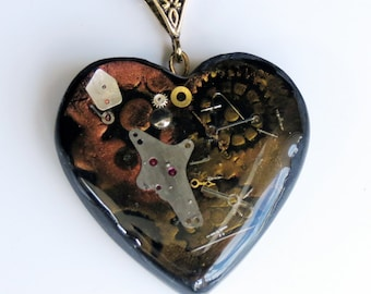 Steampunk Heart Pendant, Handmade Pendant, Watch Parts, Resin Pendant, Polymer Clay Pendant, Jewelry, Gift for Her, Mom Gift, Necklace