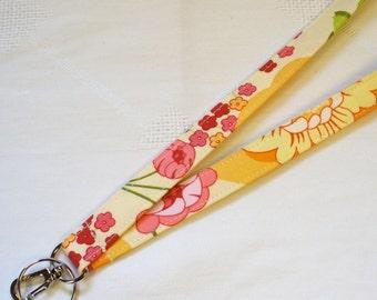 Fabric Lanyard Badge Holder Breakaway Lanyard ID Clip Key Ring Fob Sandi Henderson Meadowsweet Splashy Rose Citrus Orange Pink Lime MTO