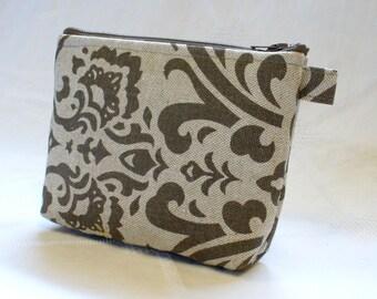 Cosmetic Bag Makeup Bag Gadget Bag Zipper Pouch Damask Ecru Linen Mocha Brown Handmade MTO
