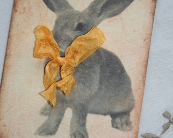 Easter Bunny tags, with yellow bow, set of 4